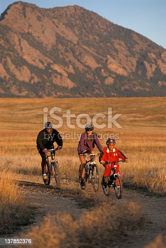 istock A family of three mountain biking together 137852376