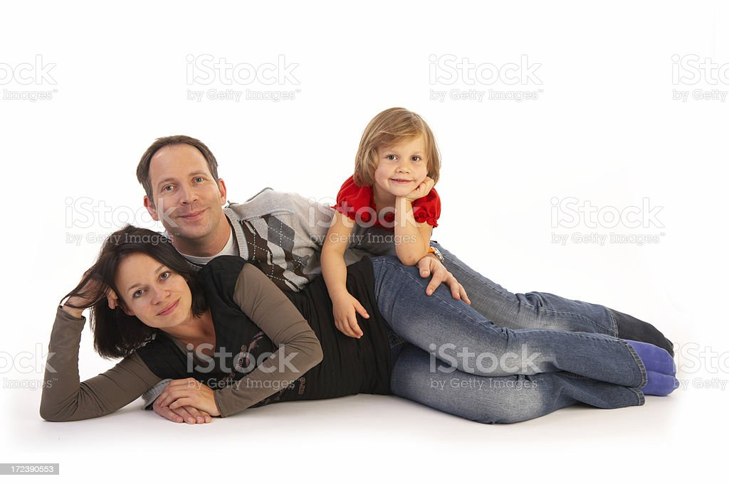 family of three on floor royalty-free stock photo
