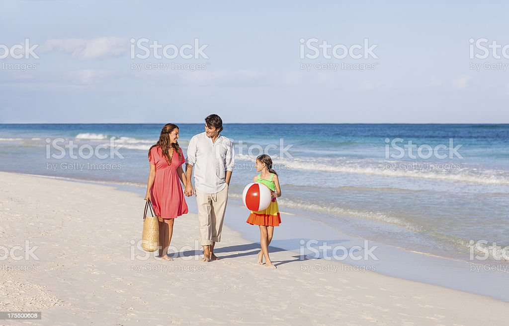 Family of three on vacations royalty-free stock photo