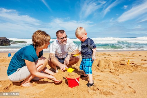 istock Family of Three Playing on The Beach 160196998