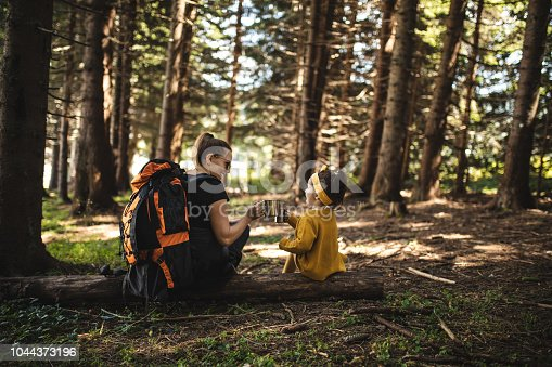 istock Family of two enjoying a beverage in a pine forest while hiking 1044373196