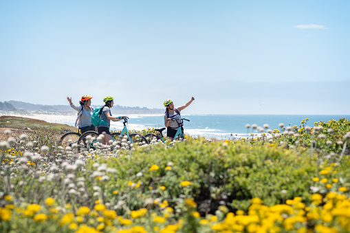 Family of Women Cyclists Posing for Selfie on Wildflower Bluff