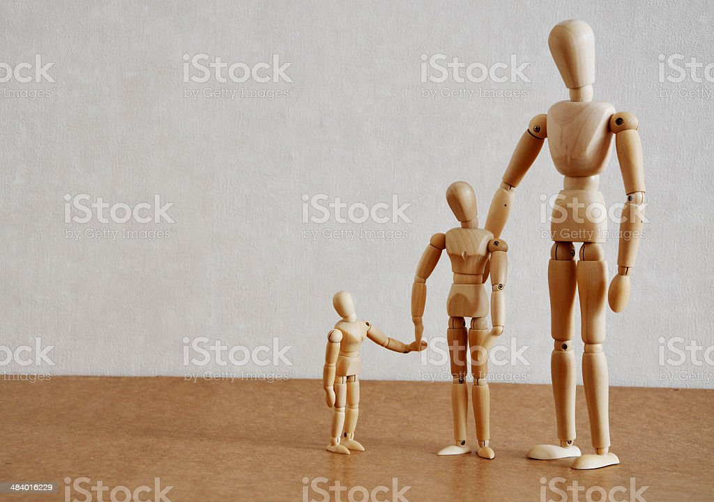 Family Of Wooden Figures royalty-free stock photo