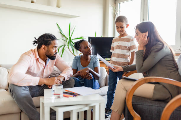 Family on a mental health therapy session stock photo
