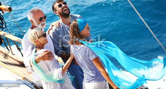 istock Family on a sailing cruise. 986509552