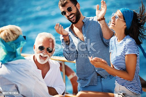 istock Family on a sailing cruise. 988261904