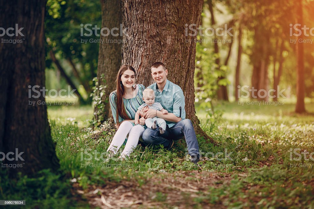 Family on a walk royalty-free stock photo