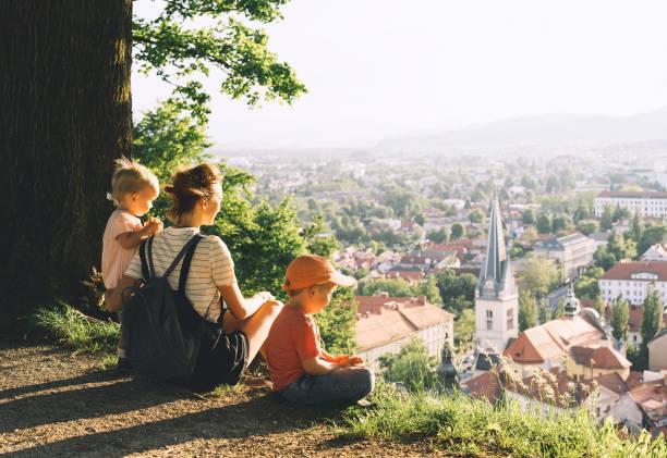 Family on background of Ljubljana, Slovenia, Europe. stock photo