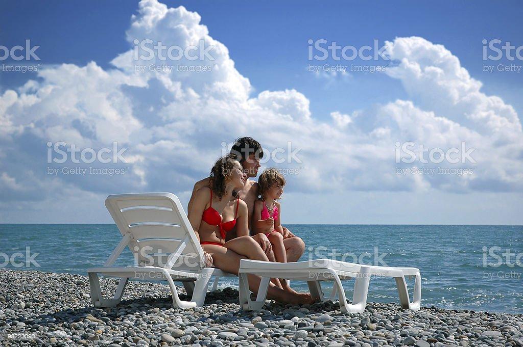 Family on beach royalty-free stock photo