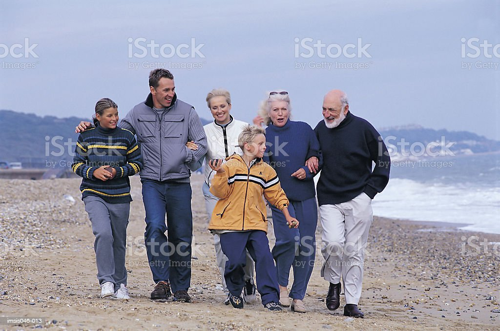 Family on beach royalty-free stock photo