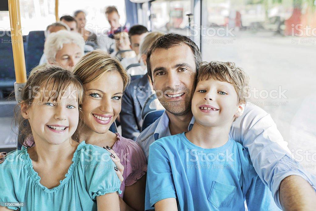 Family on bus. royalty-free stock photo