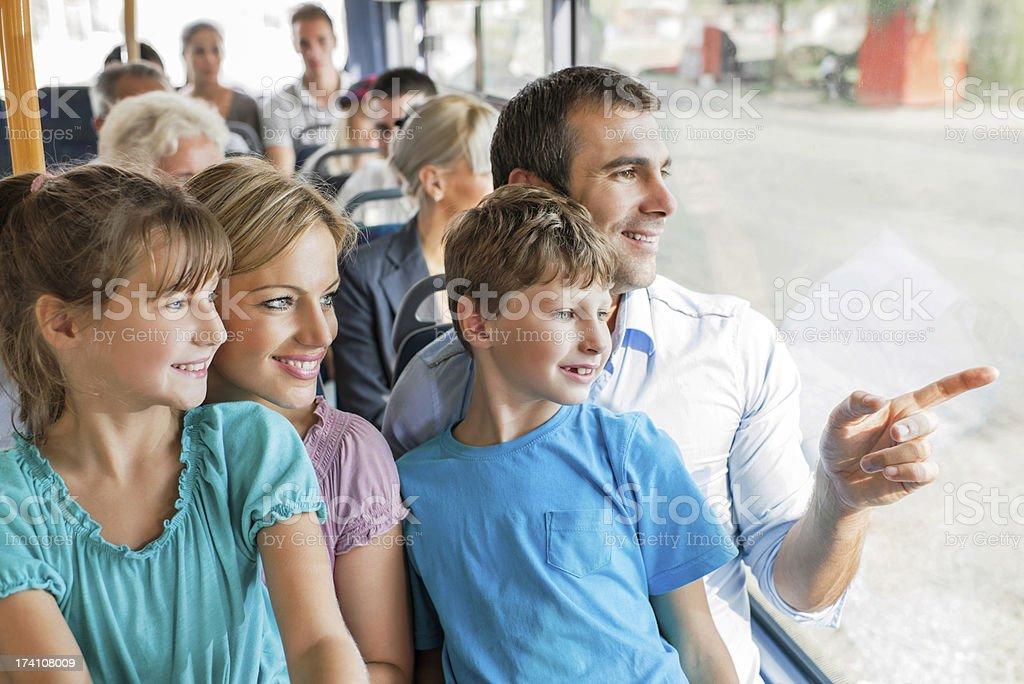 Family on bus. stock photo