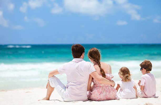 Family on Caribbean vacation stock photo