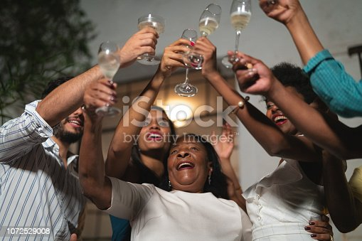 istock Family on Celebratory Toast of Happy New Year at Home 1072529008