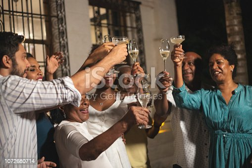 istock Family on Celebratory Toast of Happy New Year at Home 1072680714
