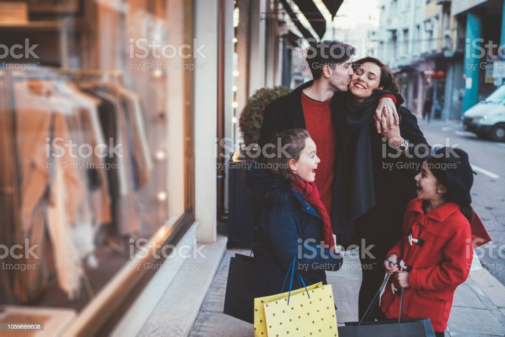Happy family on Black Friday,Christmas or Birthday shopping