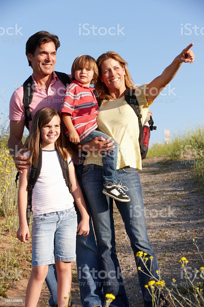 Family on country walk royalty-free stock photo