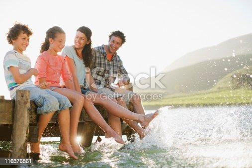 istock Family on dock splashing feet in lake 116376861