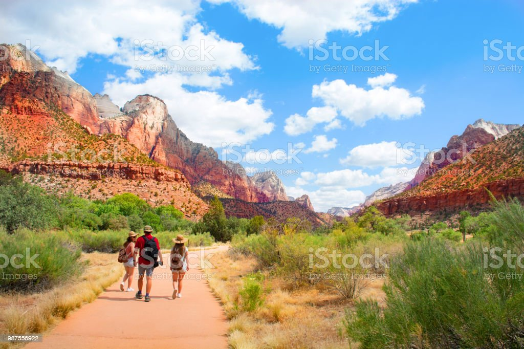 Family on hiking trip in the mountains walking on pathway. stock photo