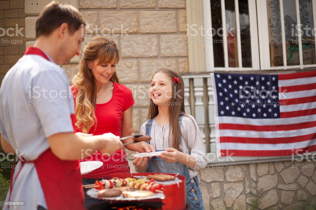 Family on Independence Day stock photo