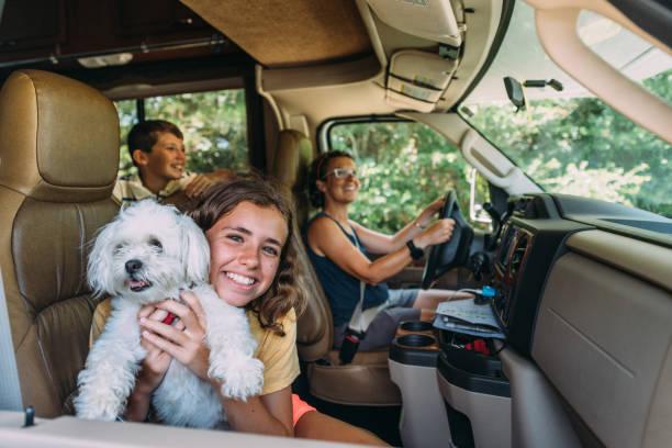 Family on RV Road Trip stock photo