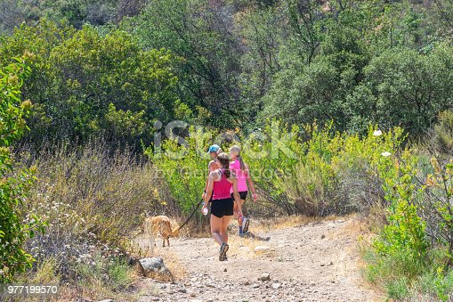 Mother and daughters hike in a forest of Southern California with the family dog on a hot summer morning.