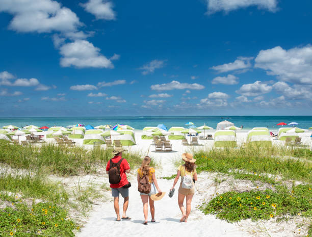 Family on summer vacation in Florida. stock photo
