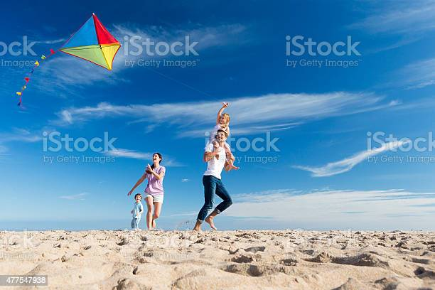 Photo of Family on the Beach Flting a Kite