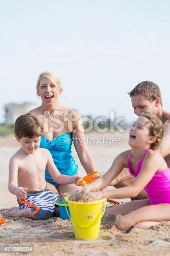 istock Family on the beach 477689204