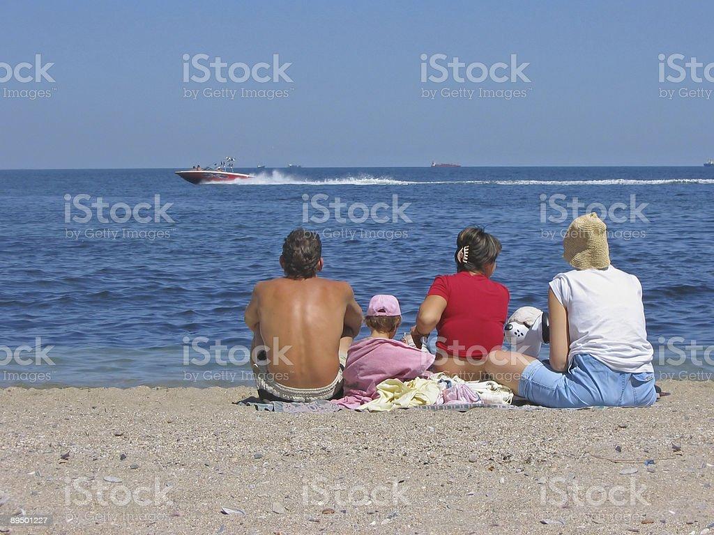 Family on the sea beach royalty-free stock photo