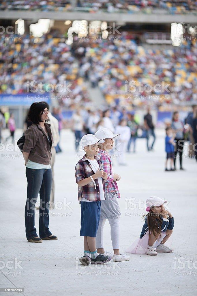 Family on the stadium royalty-free stock photo