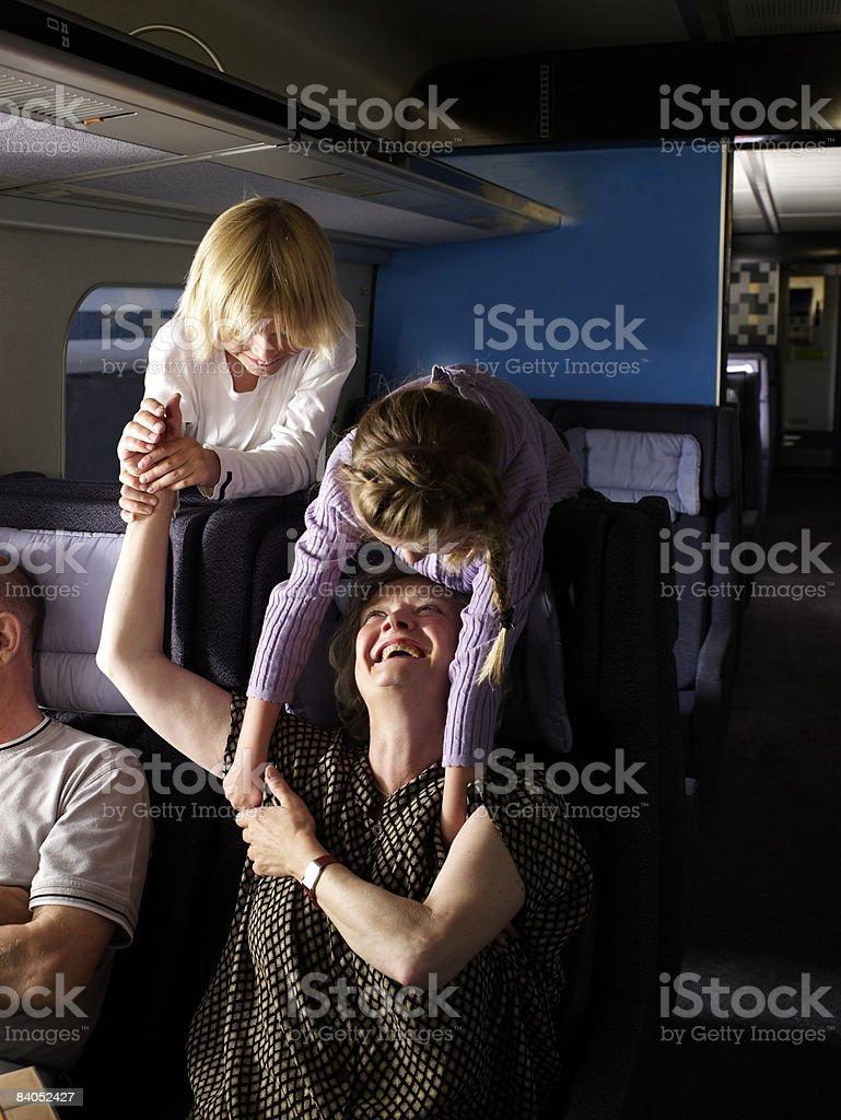 Family on train royaltyfri bildbanksbilder