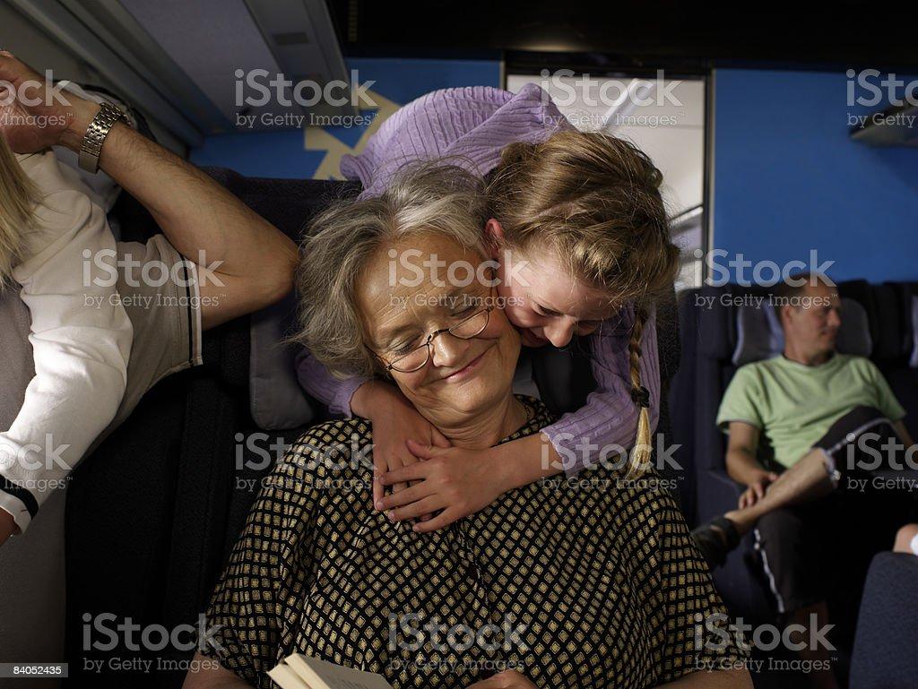Family on train royalty-free stock photo