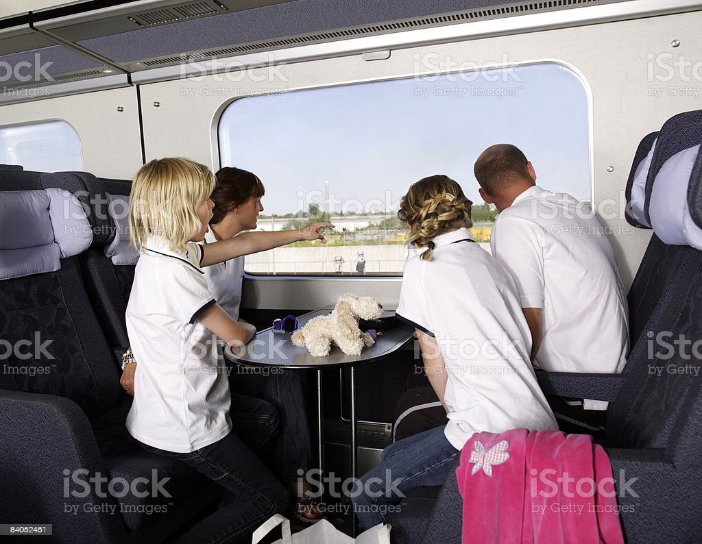 Family on train royalty-free stock photo