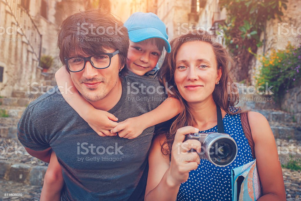 Family on vacations stock photo
