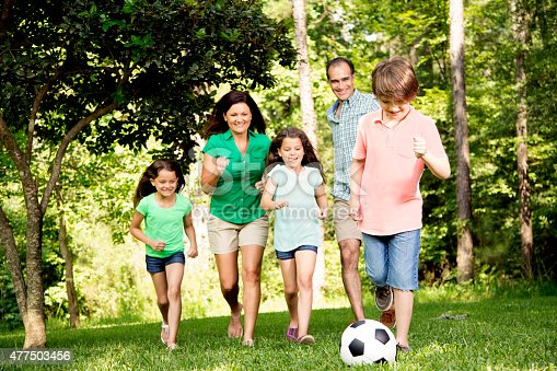 88688880 istock photo Family outdoors in summer playing soccer game. Park. 477503456
