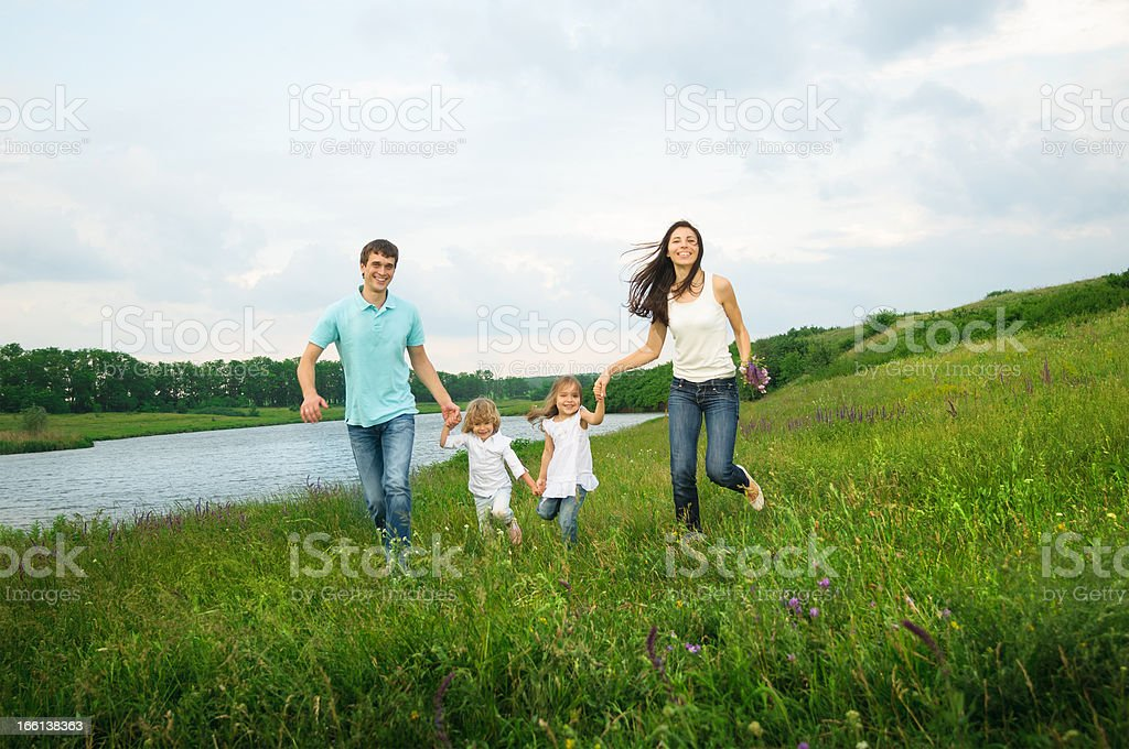 family outdoors royalty-free stock photo