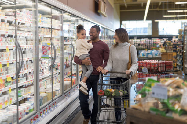 Family Outing to the Grocery Store stock photo