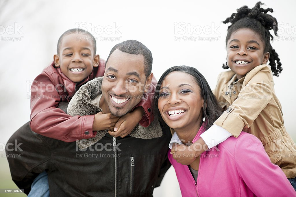 Family outside in winter royalty-free stock photo