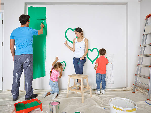 Familie Malerei Mauer green zusammen – Foto