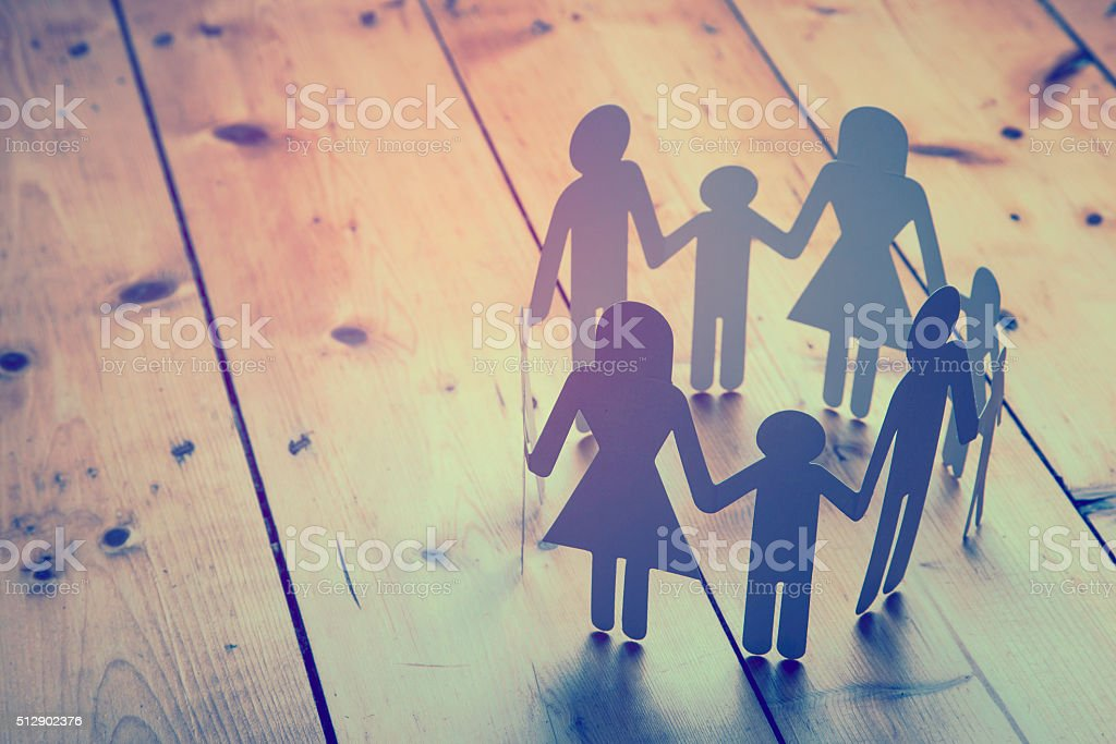 Family paper chain stock photo