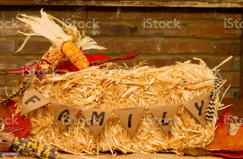 Family Pennant Hay Bale stock photo