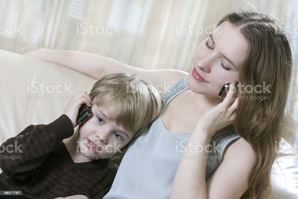 family phone talking royalty-free stock photo