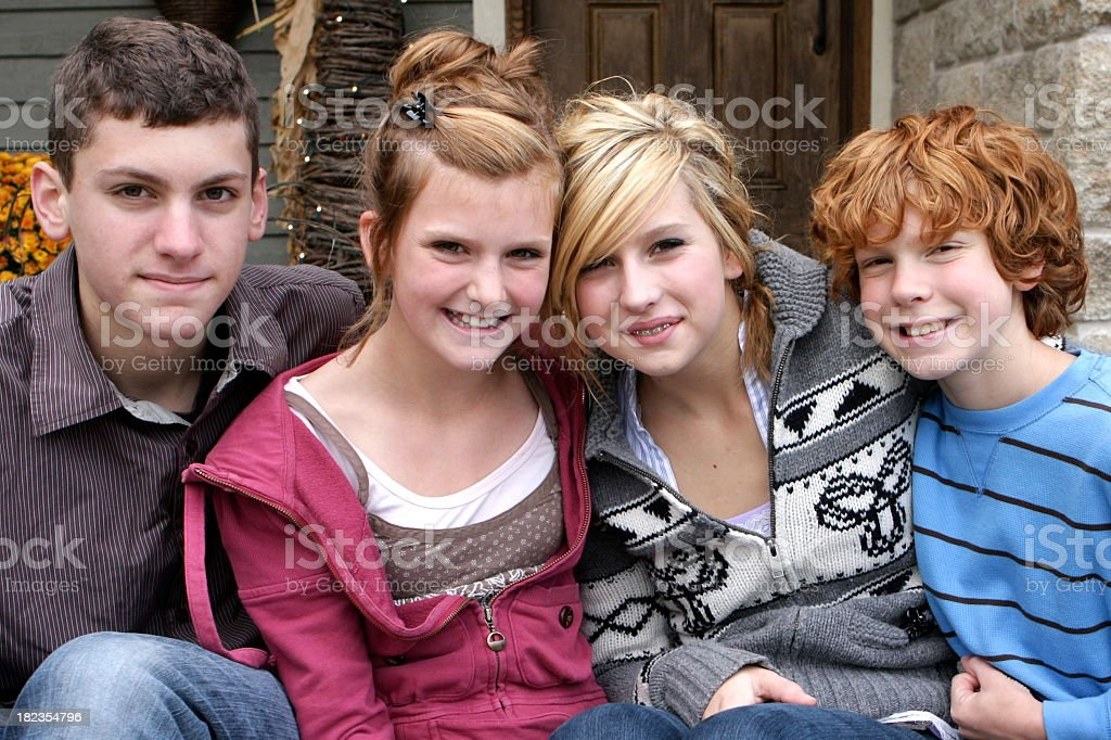 Family photo of sisters and brothers royalty-free stock photo
