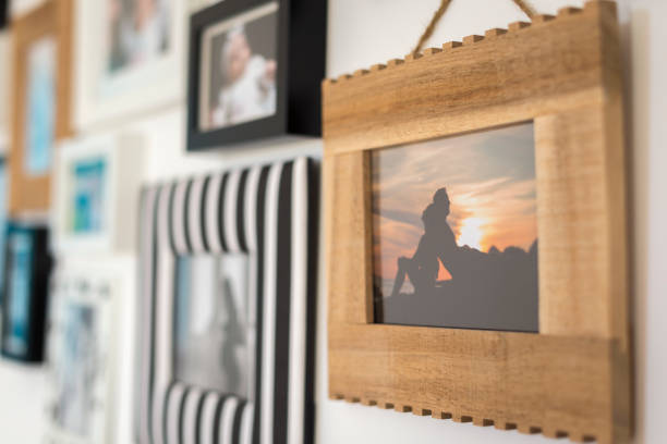 family photos in different frames stock photo