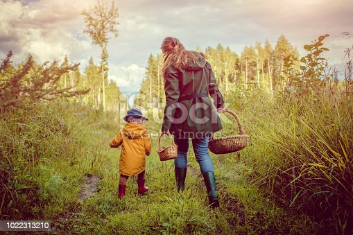 Mother and son picking mushrooms outdoors in autumn