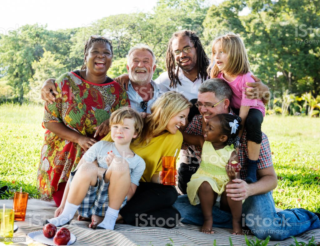 Family Picnic Outdoors Togetherness Relaxation Concept stock photo