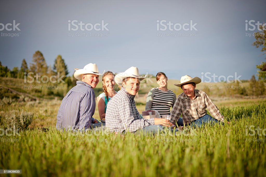 Family picnic, USA stock photo