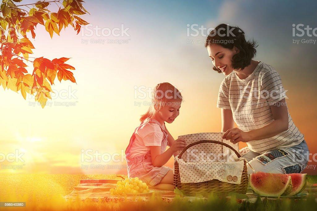Pique-nique en famille photo libre de droits