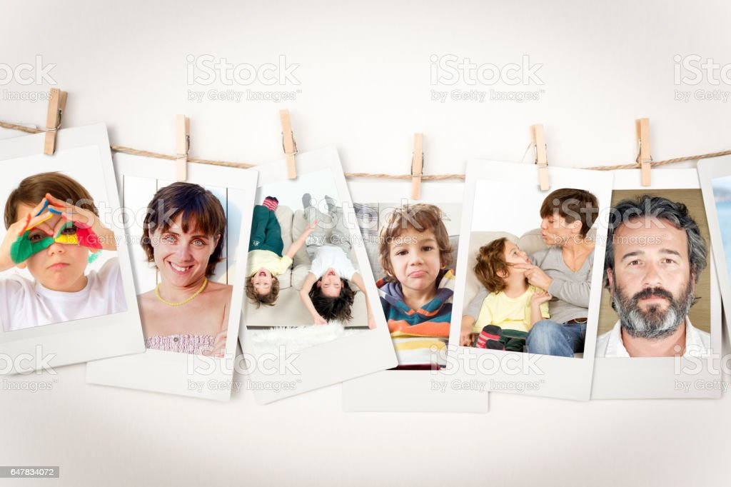 Family pictures Instant Photo Prints Collection (clipping path) stock photo